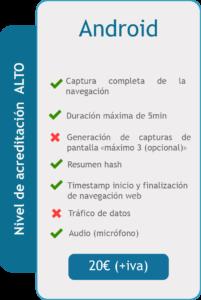Acta de Navegación Android - Características