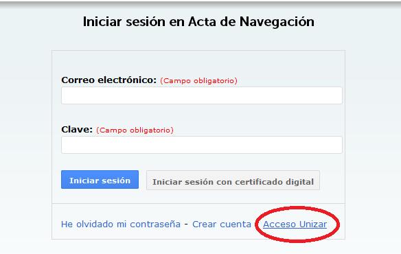 Acceso usuarios Universidad de Zaragoza