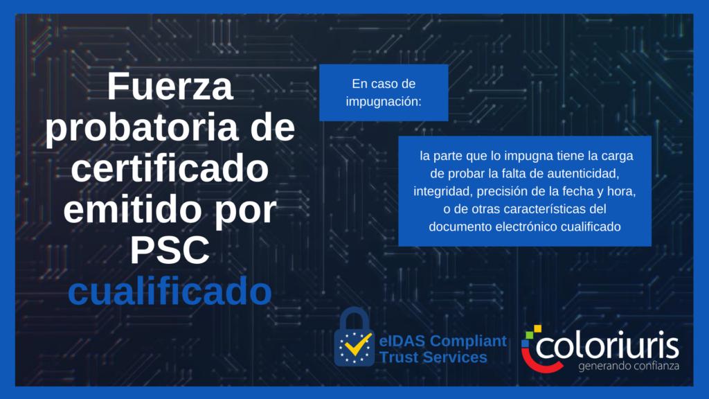 Fuerza probatoria de certificado emitido por PSC cualificado