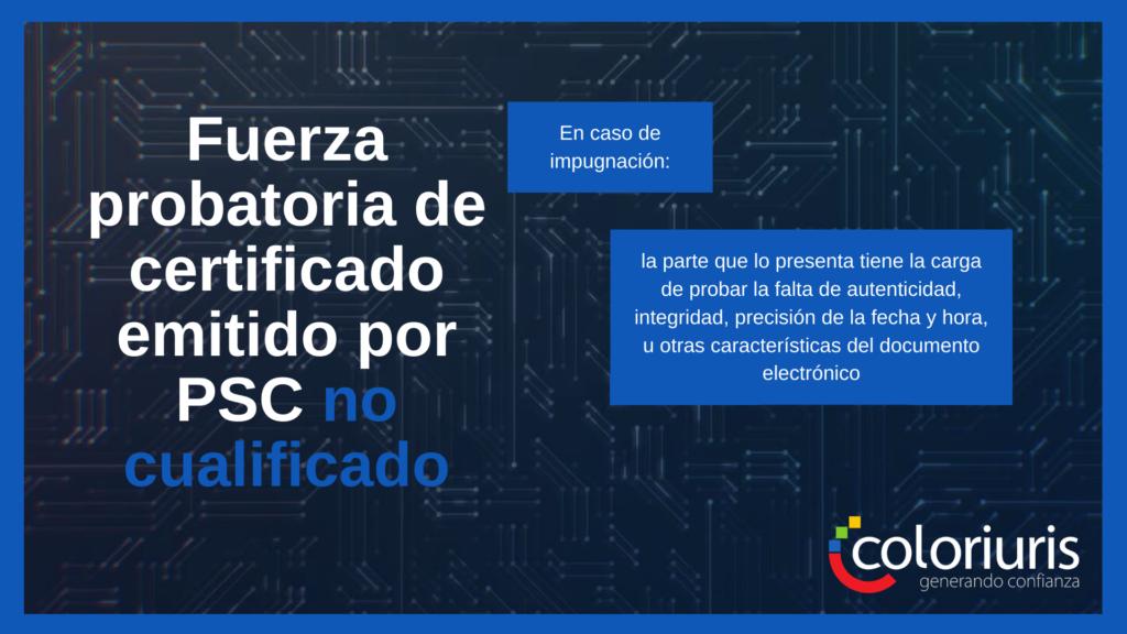 Fuerza probatoria de certificado emitido por PSC no cualificado